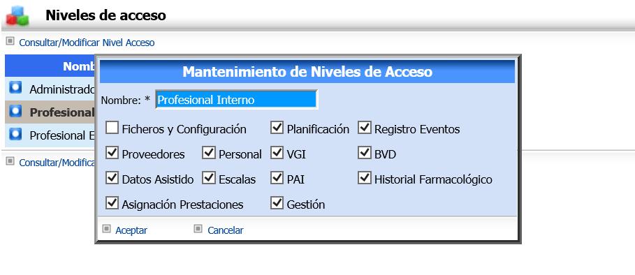 ASISGES.COM Niveles de Acceso